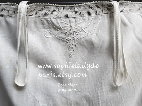 Antique French Bobbin Lace Slip White Cotton Front Embroidery Medium #sophieladydeparis