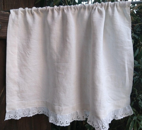 Linen Curtainn Rustic Antique White French Linen  Eyelet Lace Trim French Handmade Valance #sophieladydeparis