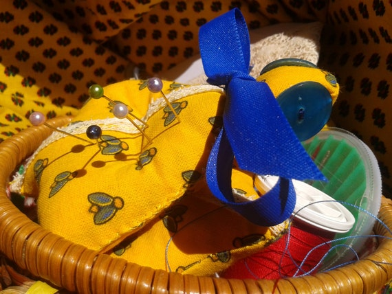 Cicada Pincushion Handmade Yellow French Provence Fabric Padded Stuffed Blue Buttons Blue Ribbon