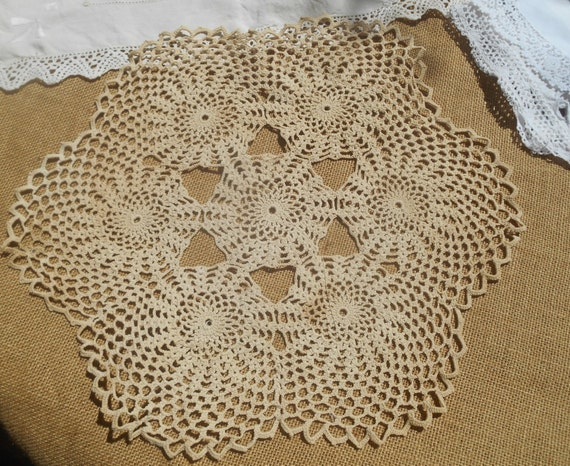 Victorian Off White Doily French Table Center Hand Crocheted Sewing Assemblage #sophieladydeparis