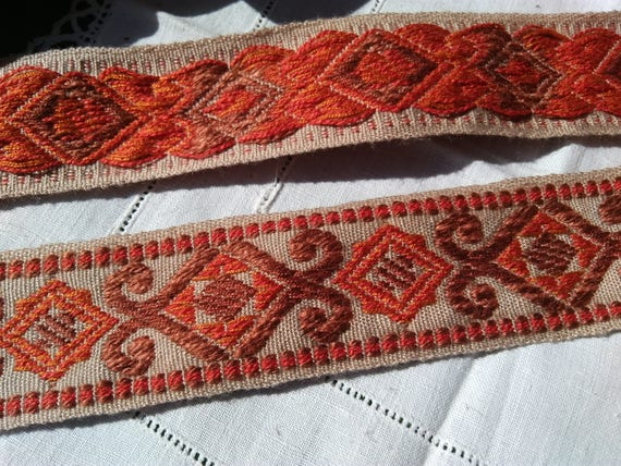 Brocade Ribbon Home Decor Braid Unused Sold by the Yard Orange Brick and Beige Vintage French Trim Embroidered Festoon #sophieladydeparis