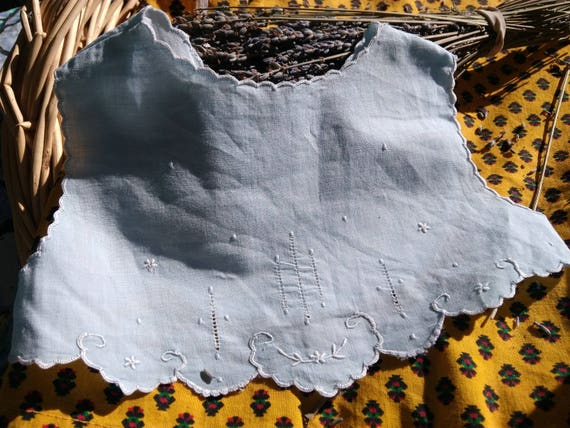 Victorian Blue Baby Bib Top with Armholes French Cotton Handmade Lined #sophieladydeparis
