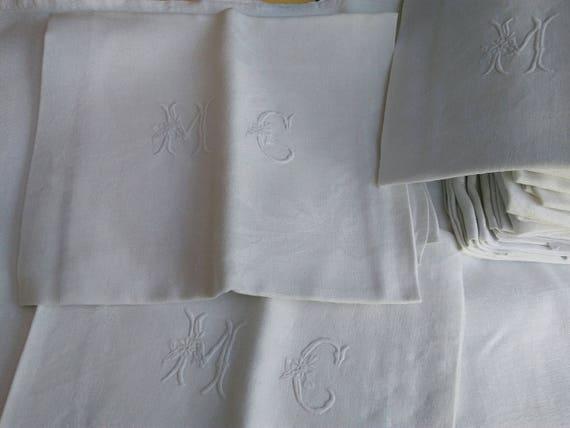 "6 Antique French Damask Napkins Set of 6 White Linen ""MC"" Monogram #SophieLadyDeParis"