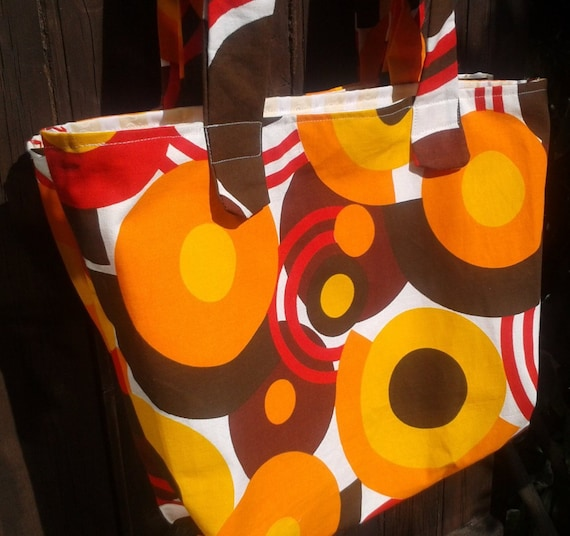 Orange Tote Vintage 60's Style Bag Large Orange Circles French Cotton Canvas Handmade #sophieladyeparis