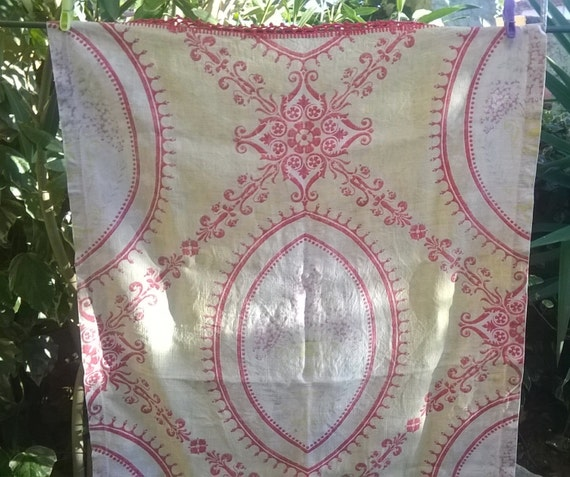 Victorian Curtain 1850's French Empire Linen Panel Red Crochet lace Trim Antique Printed Curtain RARE Home Decor Textile #sophieladydeparis