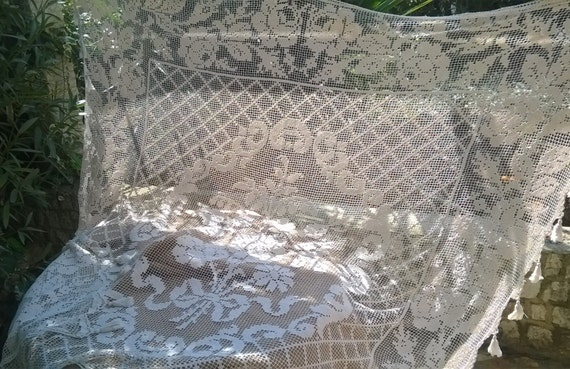 Bedspread French Filet Hand Crocheted Large Victorian White Cotton Lace Panel Tassel Trimmed #sophieladydeparis