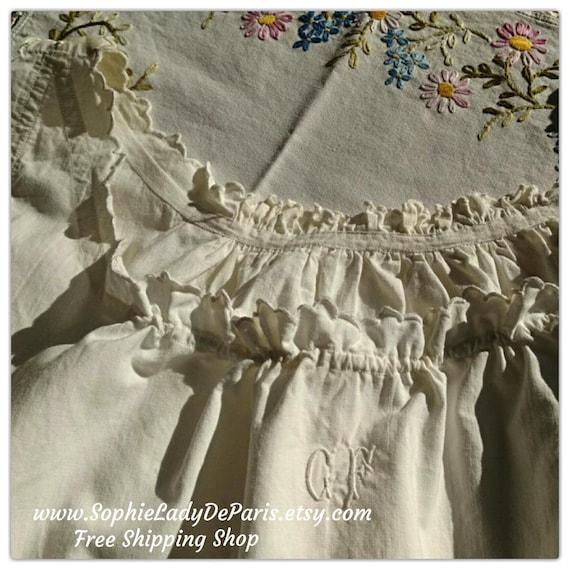 Victorian White Dress Ruffled Wide Metis Linen Shirt Monogram French Handmade Nightgown XL #GF2 #sophieladydeparis