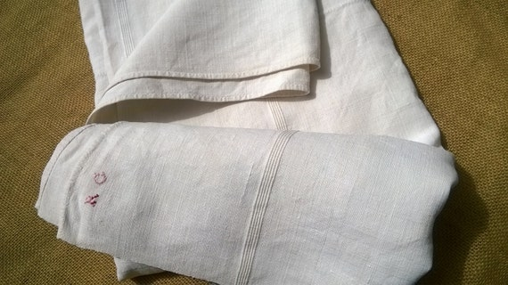 Antique Bedspread Off White French Ribbed Linen Cover Panel Throw Tablecloth #sophieladydeparis