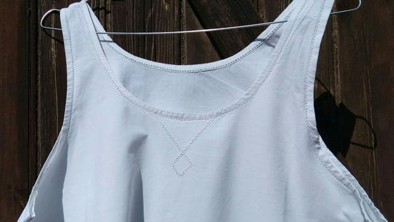 Victorian Dress French Plain White Metis Slip Diamond Cut Work Large #sophieladydeparis