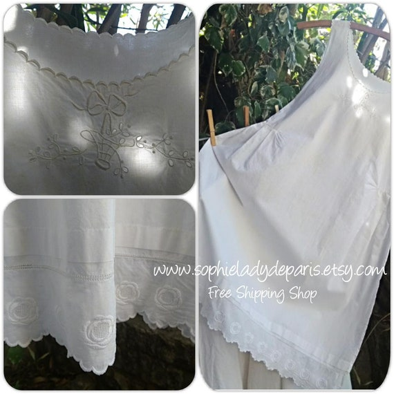 Antique French White Dress Front Hand Embroidered Flower Basket Bow Cut Outs Floral Tier Cotton Slip Small Size  #SophieLadyDeParis