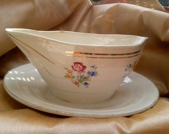Victorian Versailles French Gravy Sauce Boat Double Sided Pouring  1930 Pattern Signed Floral Gilded #sophieladydeparis