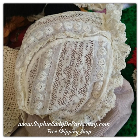 Victorian Baby Hat Tulle Lace Baby Bonnet Off White Cotton Embroidered Silk Strap Ribbon Antique French  #sophieladydeparis