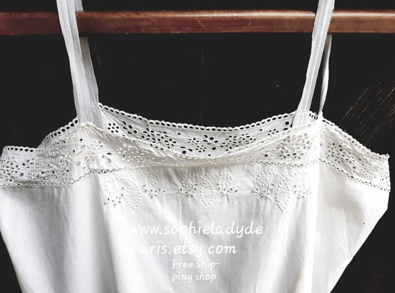 Antique French Eyelet Slip White Cotton Hand Embroidered Front Lace Medium #sophieladydeparis