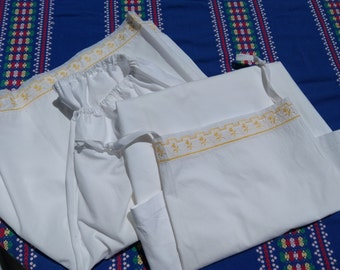 Victorian White Lingerie Set Slip and Short Yellow Tulle Lace Embroidered Handmade French Cotton Slip Large #sophieladydeparis
