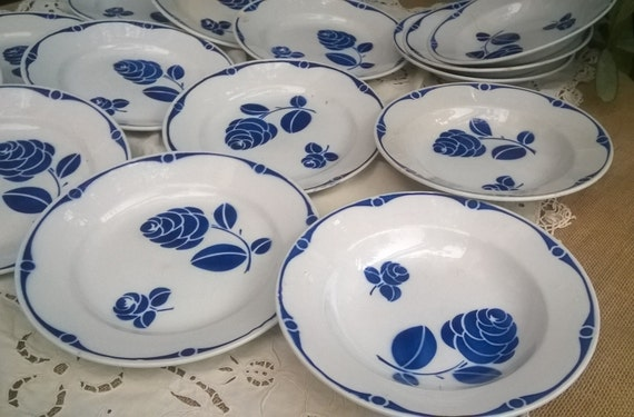 Free Ship. 14 Antique 1890's French Flow Blue Porcelain Plates Blue Rose Decor By French Sarreguemines #sophieladydeparis