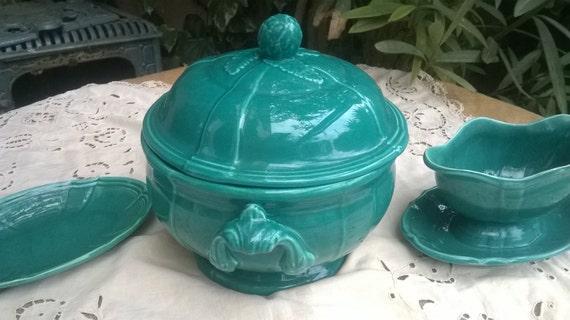 RARE 1930's French Green Artichoke Porcelain Soup Tureen Serving Dish Gravy Boat #sophieladydeparis