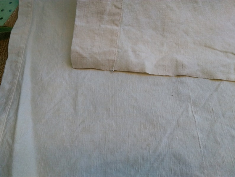 19th Century Off White Thick French Toile Metis Sheet Tablecloth Upholstery Fabric Curtain Panel Bed Cover unused #sophieladydeparis