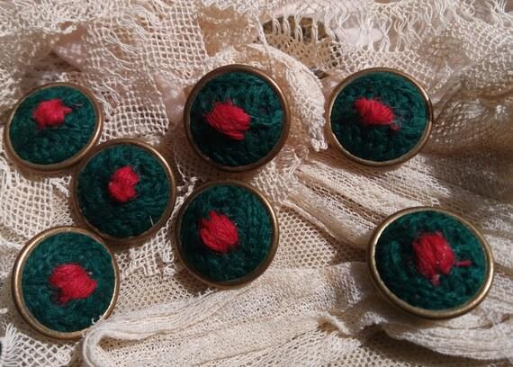 7 Buttons Vintage Green Felt Buttons Brass Framed French Buttons Shank Button #SophieLadyDeParis