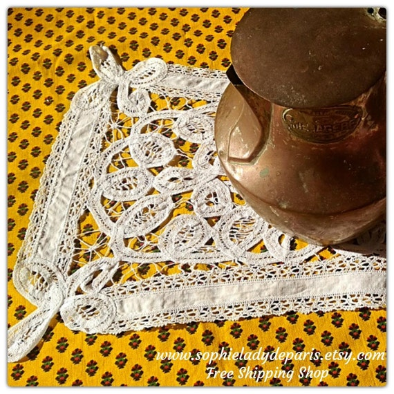 White Venetian Art Lace Doily Needle Lace Inlay Cotton Handmade Antique Table Center #sophieladydeparis