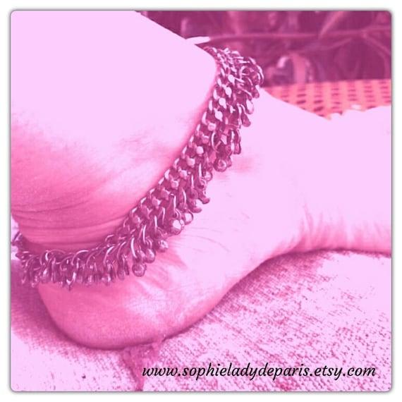 Bell Anklet Foot Bracelet Vintage Silver Indian Rajasthani Etnic Dance Bracelet Boho Jewel #sophieladydeparis