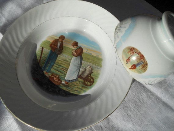 1858 L'Angelus by François Millet painting on Victorian 1920's French Café au Lait  Bowl and Plate Signed Badonviller #SophieLadyDeParis