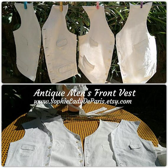 2 Front Vests Victorian Men Vest Kit White Ribbed Cotton Made Lined Sewing Project #sophieladydeparis