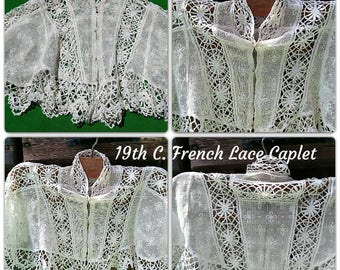 Victorian Lace Capelet Antique White French Cotton Net Lace Shoulder Cover Museum Quality Collectible #sophieladydeparis