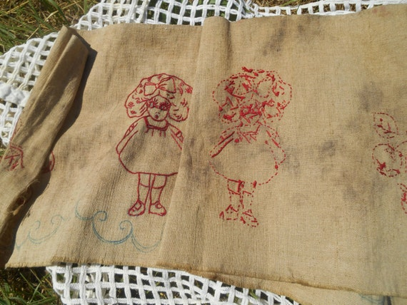 Antique Redwork Linen Curtain Fabric Girl and Cherry Hand Embroidered 1880's Bath Pattern #sophieladydeparis
