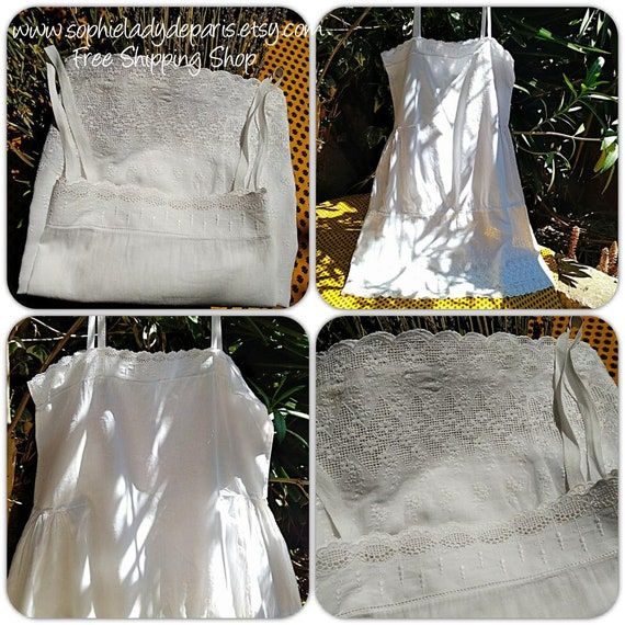f0f70a6a237 ... Antique French Lacy slip dress White Cotton Medium   Large Darned  Collectible  sophieladydeparis