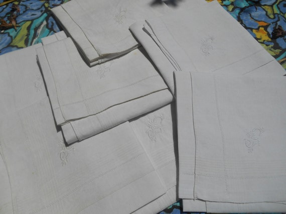 "2 Large Handkerchiefs Victorian White Linen Men's Tissues Bordered ""C""  Flowery Monogram French Tissues Pocket Squares"