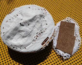 Antique French White Basket Linen Cover Basket Doily Hand Embroidered Cut Worked #sophieladydeparis