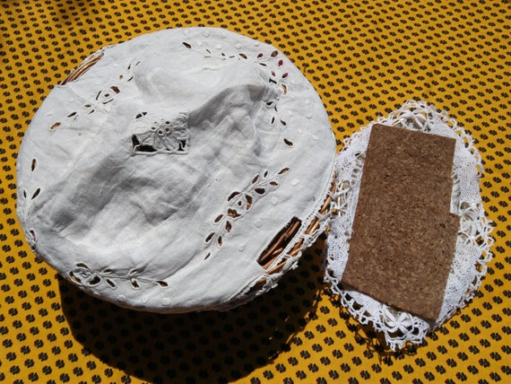 Antique Basket Linen Cover French White Basket Doily Hand Embroidered Cut Worked #sophieladydeparis