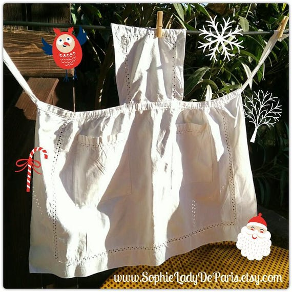 Vintage Apron White Metis Linen Apron French Maid Apron Two Front Pockets Picot Inlays #sophieladydeparis