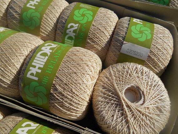 10 Balls Cotton Yarn Unused NOS Knit Supply NATURAL Hemp Color Crochet Thread US 0 Made in France Phildar Free Shipping #sophieladydeparis