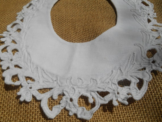 Victorian Richelieu Baby Bib or Collar French White Ribbed Cotton Cut Work #sophieladydeparis