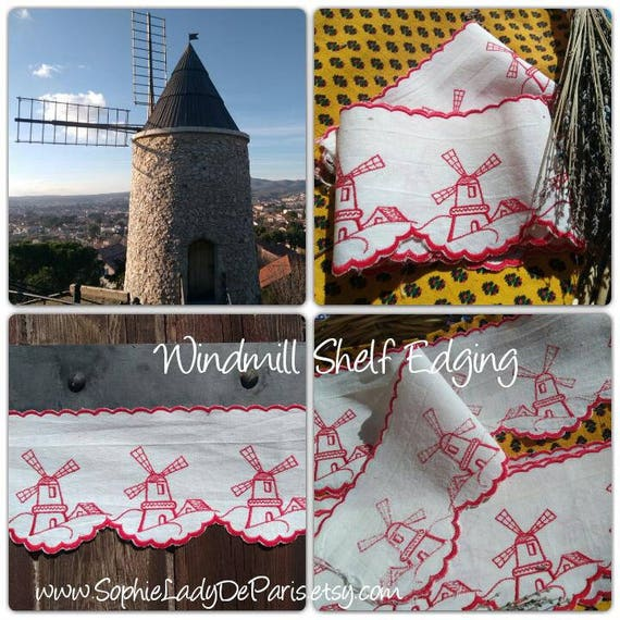 Red Windmill Shelf Edging White Metis Linen Country Kitchen Decor Red Embroidered #sophieladydeparis