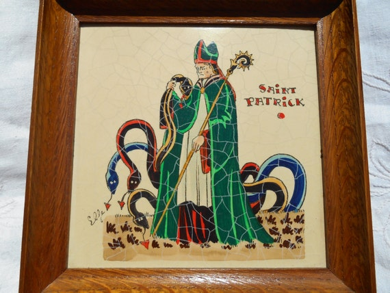 Saint Patrick (385 - 461 ) Vintage 70's French Wood Frame Patron Saint of Ireland Laminated Signed French Scriptures on the Reverse