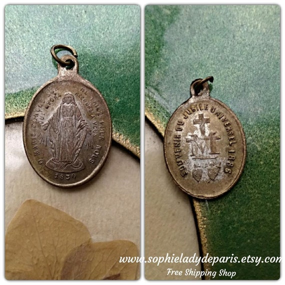 1886 Jubilee Medal Antique French Our Lady Miraculous Medal Catherine Labouré 1830 Apparition 50th Anniversary Souvenir #sophieladydeparis