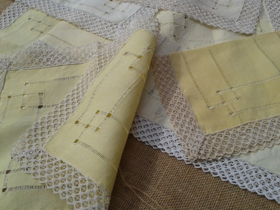 8 Victorian Napkins French Pastel Yellow Linen & Lace Handmade #sophieladydeparis