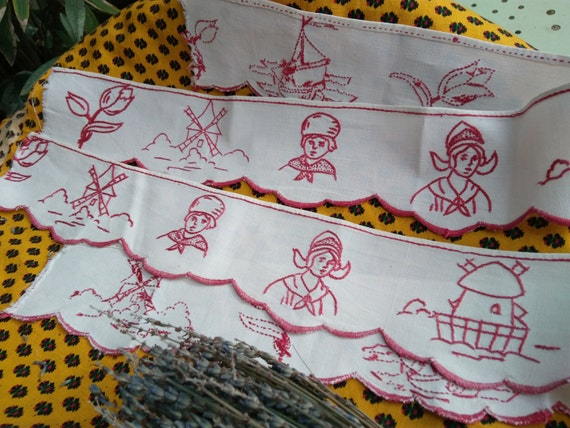 2 Victorian Café Valances Linen Country Kitchen Shelf Edging Dutch Folk Villagers Windmill Boat Tulips Red Embroidered #sophieladydeparis