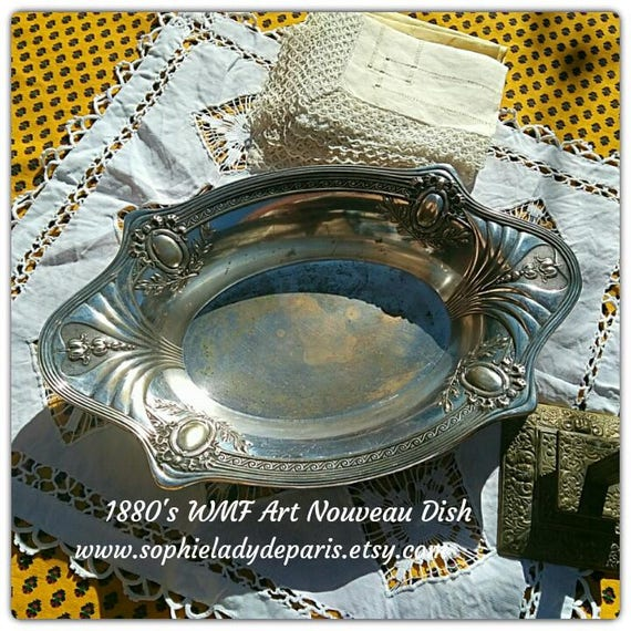 Art Nouveau WMF Dish Antique 1880's German Silver on Brass Dish Collectible Home Decor #sophieladydeparis