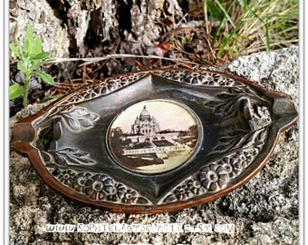 1920's Sacre Coeur Ashtray Brass Paris Souvenir Montmartre Photo Glass Protected Collectible #sophieladydeparis
