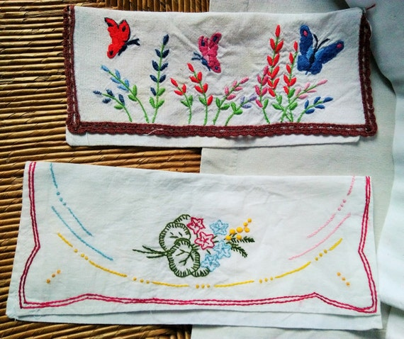 2 Napkin Cases Hand Embroidered French Handmade White Pouch Butterflies Flowers #sophieladydeparis