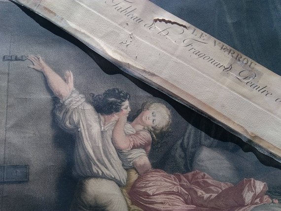 "19th C. Fragonard "" The BOLT ""  1784 Engraving By Blot Rococo Louis XVI #sophieladydeparis"