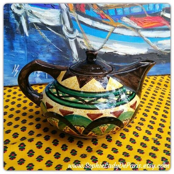 Mid- Century Teapot Saint Jean de Bretagne Teapot Hand Painted French Folk Pottery Aladdin Lamp Shape Rare 3060 Pattern #sophieladydeparis