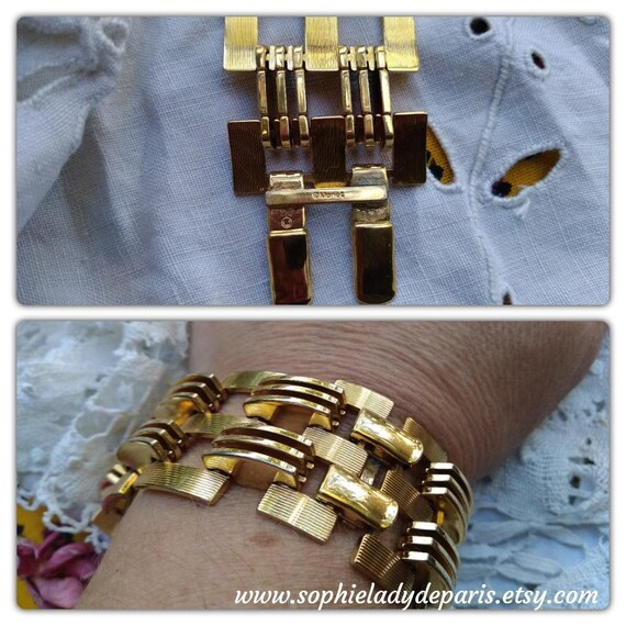 Vintage Monet Bracelet 50s Wide Bars Gold Plated Bracelet  #sophieladydeparis
