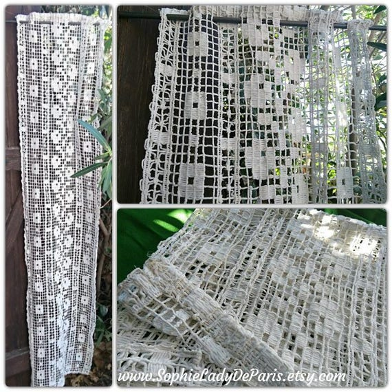 Long Antique French Filet Curtain 1930's Thick White Cotton Made Square Design #sophieladydeparis