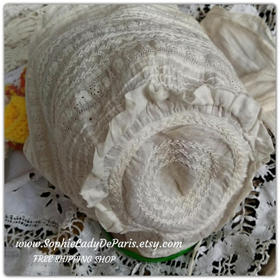 Victorian Baby Bonnet Off White Cotton Hat Hand Embroidered Antique French Baby Hat or Doll Hat #sophieladydeparis