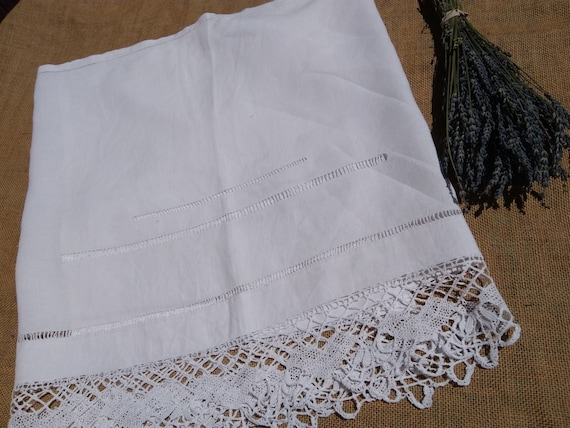 Long White Victorian Linen Runner Embroidered Cut Work Hand Crochet Lace Trim White French Linen Sewing Project Curtain #sophieladydeparis