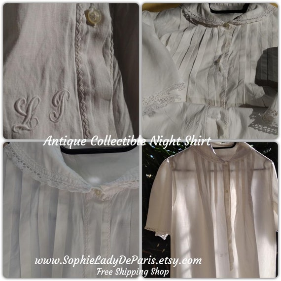 Antique Shirt Nightgown Lace Trim Handmade Collectible White French Cotton Shirt Monogram M/L Clothing for Costume #SophieLadyDeParis